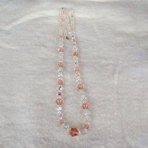 Vintage Crystal/glass pink necklace